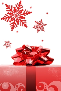 red gift and bows